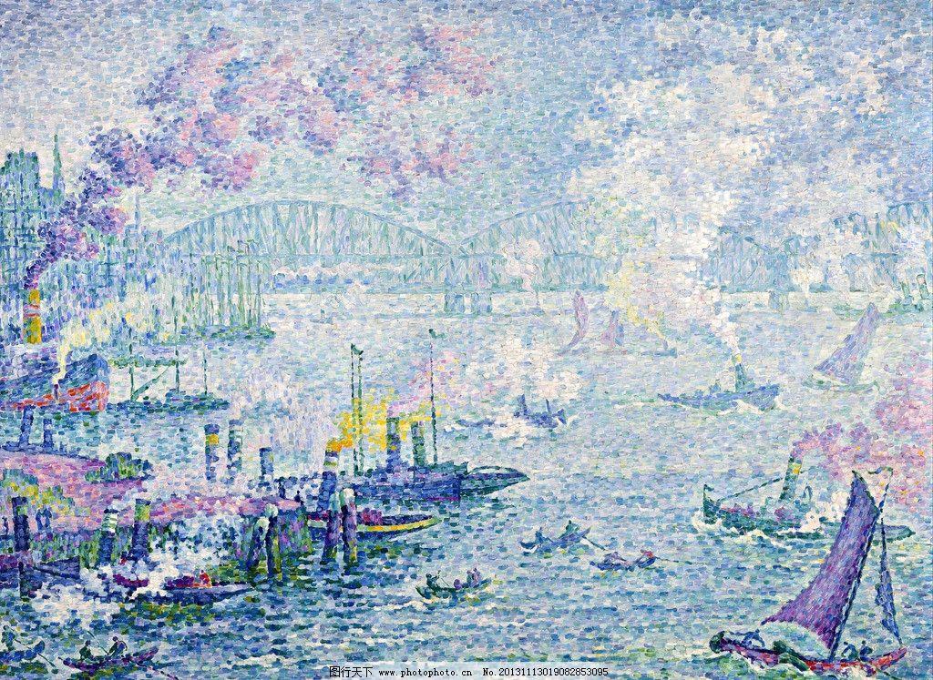 港湾水体俯视手绘