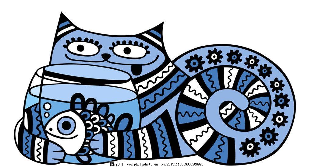手绘 鱼 小猫 猫咪 素描 花纹 矢量 素描画钢笔画矢量 美术绘画 文化