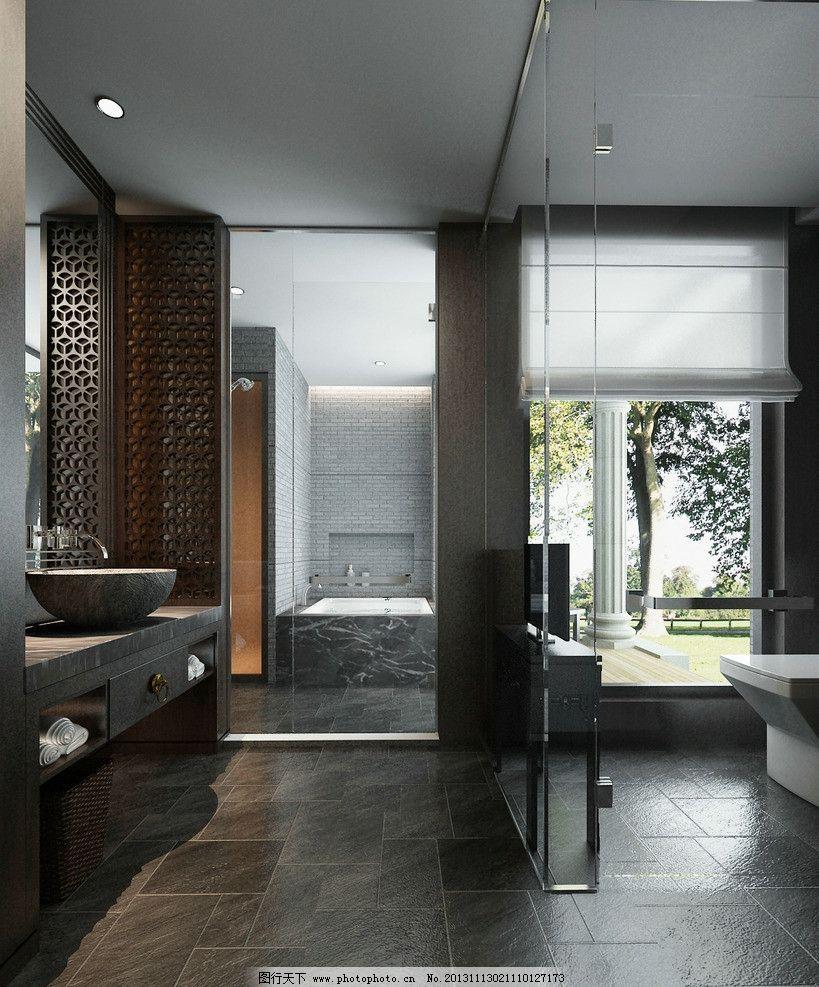 中式卫生间 东南亚风格 中式花格 黑色仿古砖地面 台上盆 3d作品 3d图片