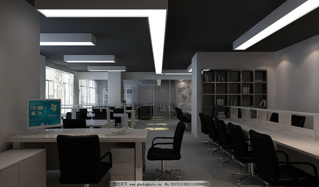 办公室效果图 时尚简约风格 办公室内景 现代化企业 网销办公室 设计