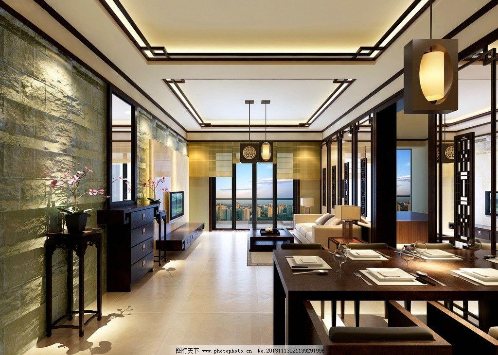 中式客厅效果图图片