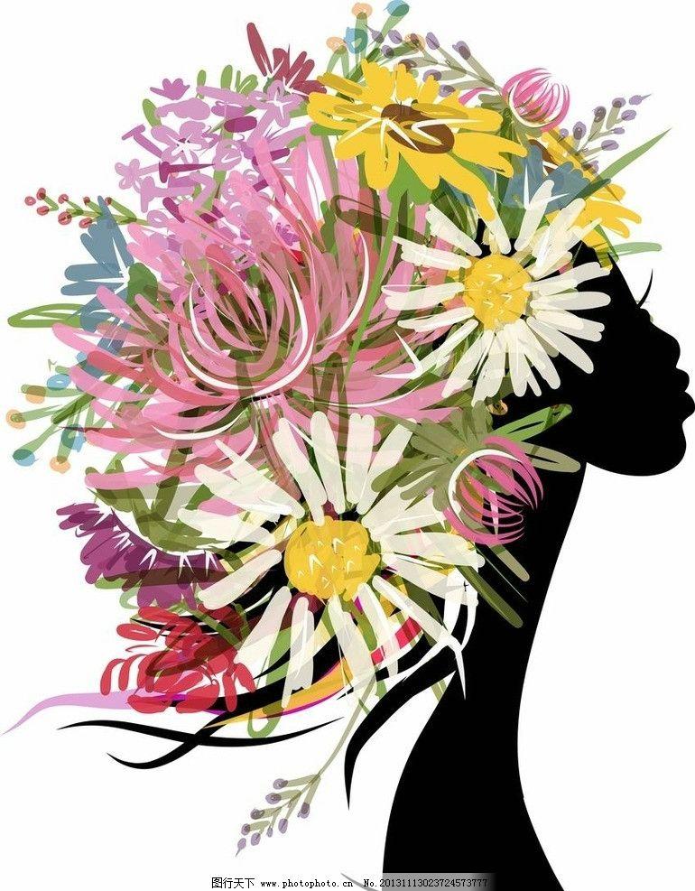 鲜花美女头像 浪漫 手绘 女孩 女人 少女 天使 姑娘 优雅 盛开