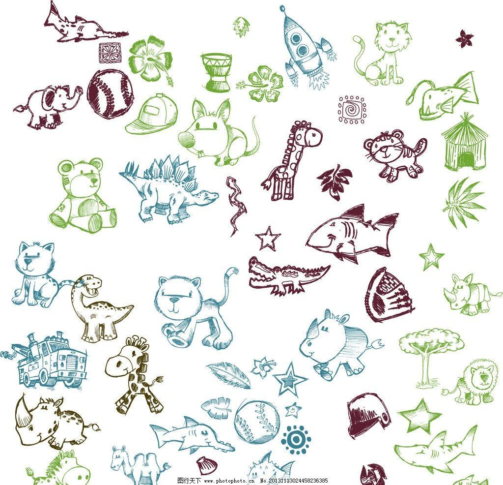 手绘动物卡通图案图片