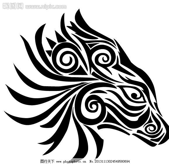 野马 图腾 纹身 马 动物 自然 图案 家禽家畜 生物世界 矢量 ai