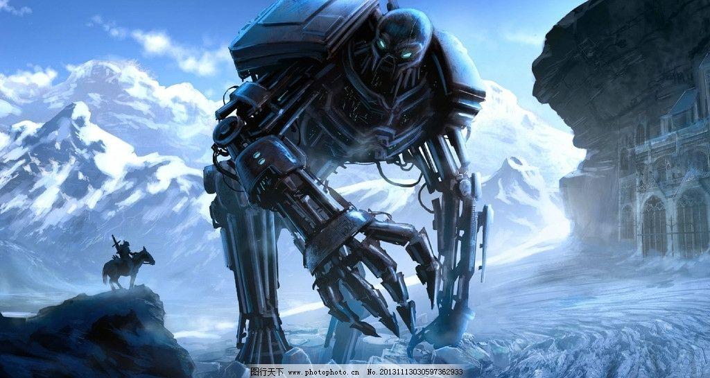 机器人 怪兽 科幻 手绘 蓝天 白云 山川 其他 动漫动画