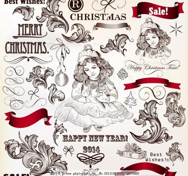 欧式花纹 圣诞天使图片