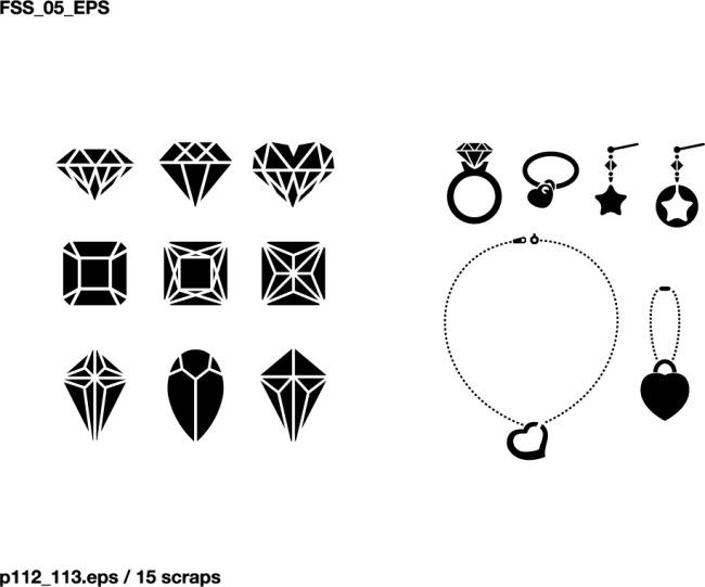 钻石首饰剪影免费下载 耳环 项链 钻石 钻石 耳环 项链 矢量图 其他