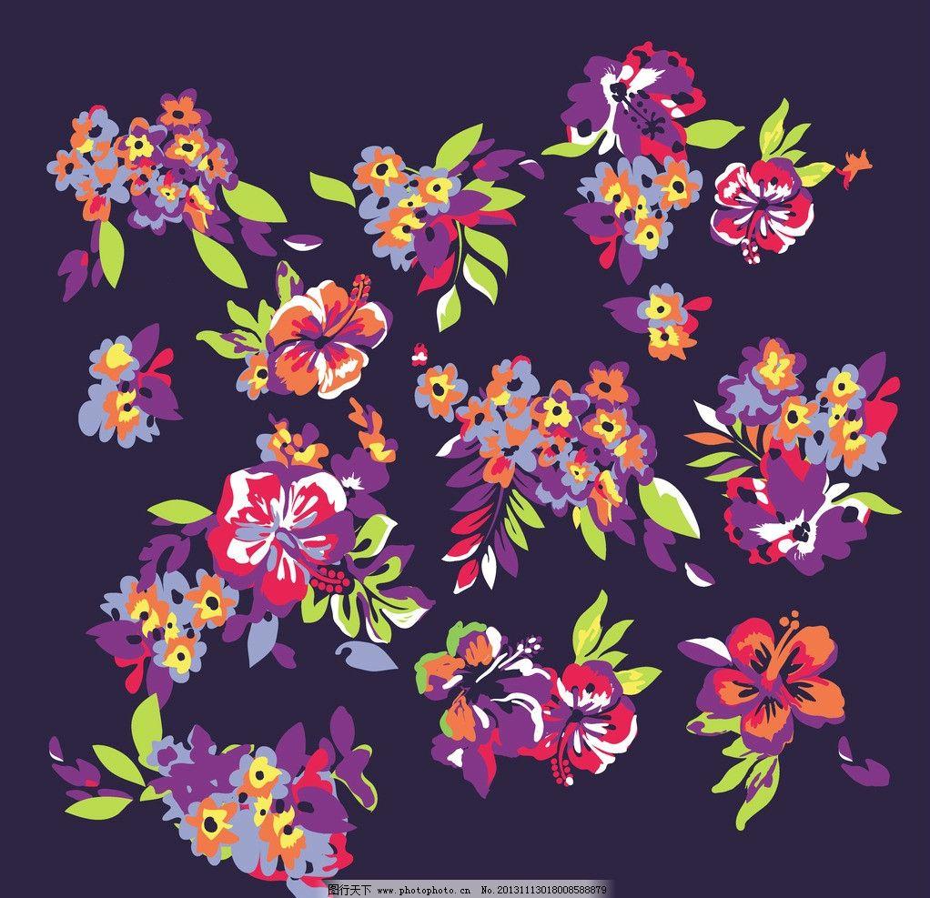 彩色花朵 叶子 花素材下载 印花 欧式花 素色花 色块花 花草