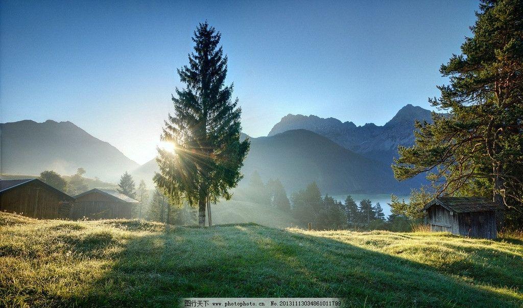 清晨阳光 山水风景 自然风景 风景壁纸 风景如画 蓝天 阳光 自然景观