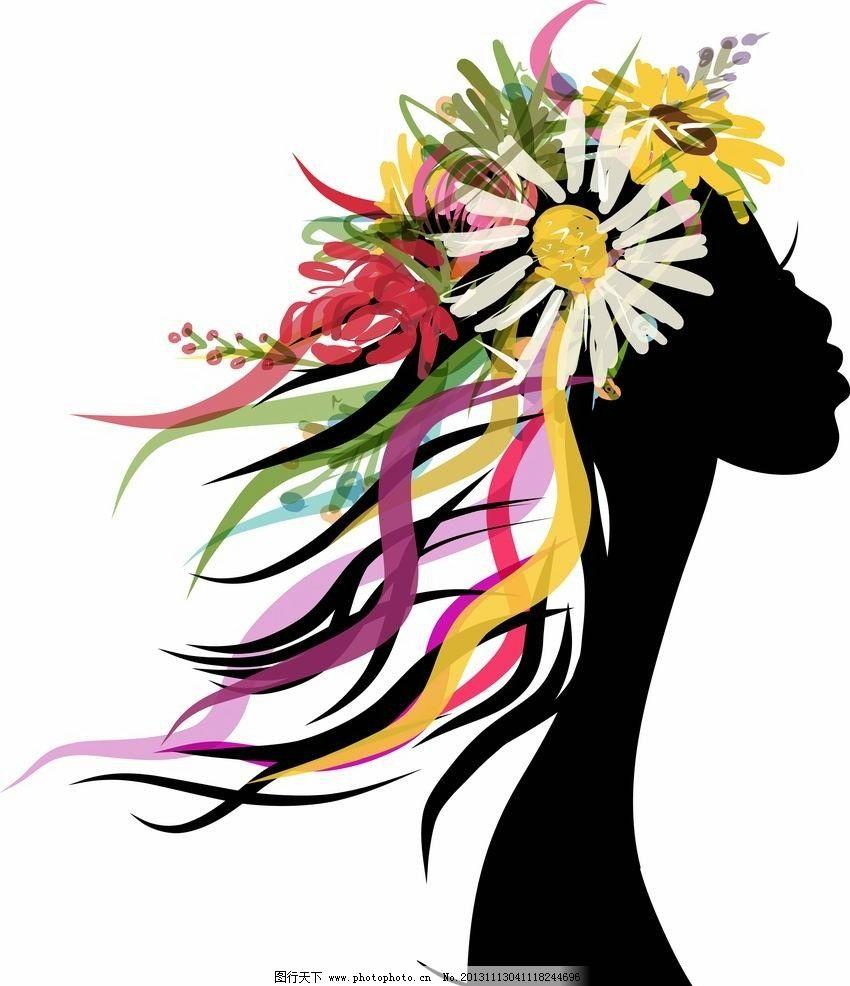 花纹美女头像 浪漫 手绘 女孩 女人 少女 天使 姑娘 优雅 鲜花