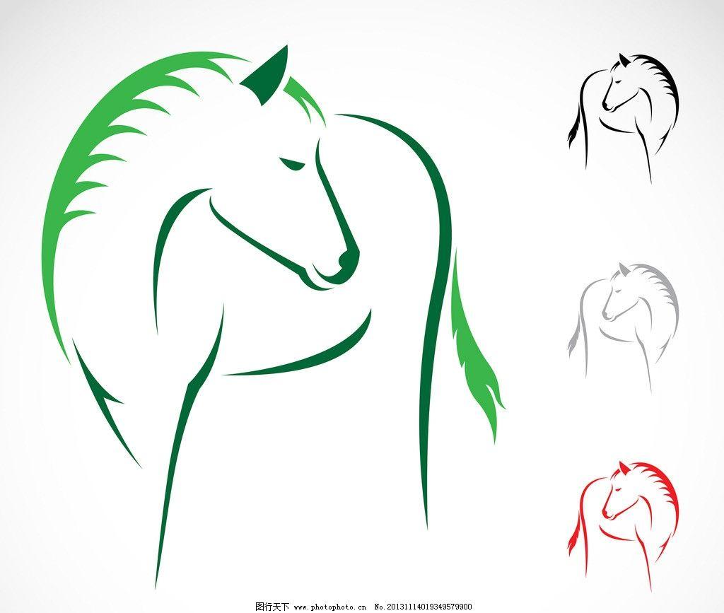 马创意广告设计 马年素材 线条 手绘骏马 手绘素描动物