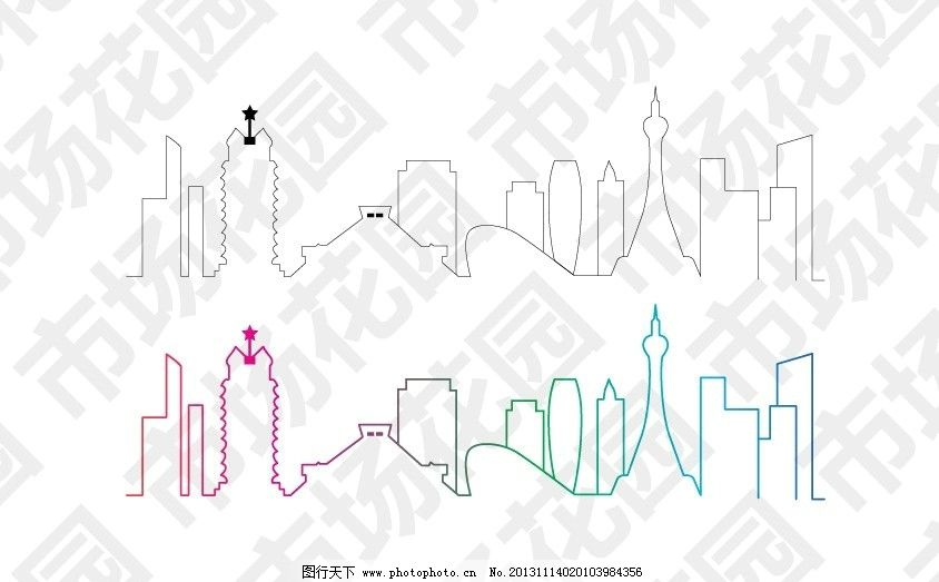 郑州城市线稿 郑州市 标志建筑 中原福塔 千玺广场 城市线稿 二七塔