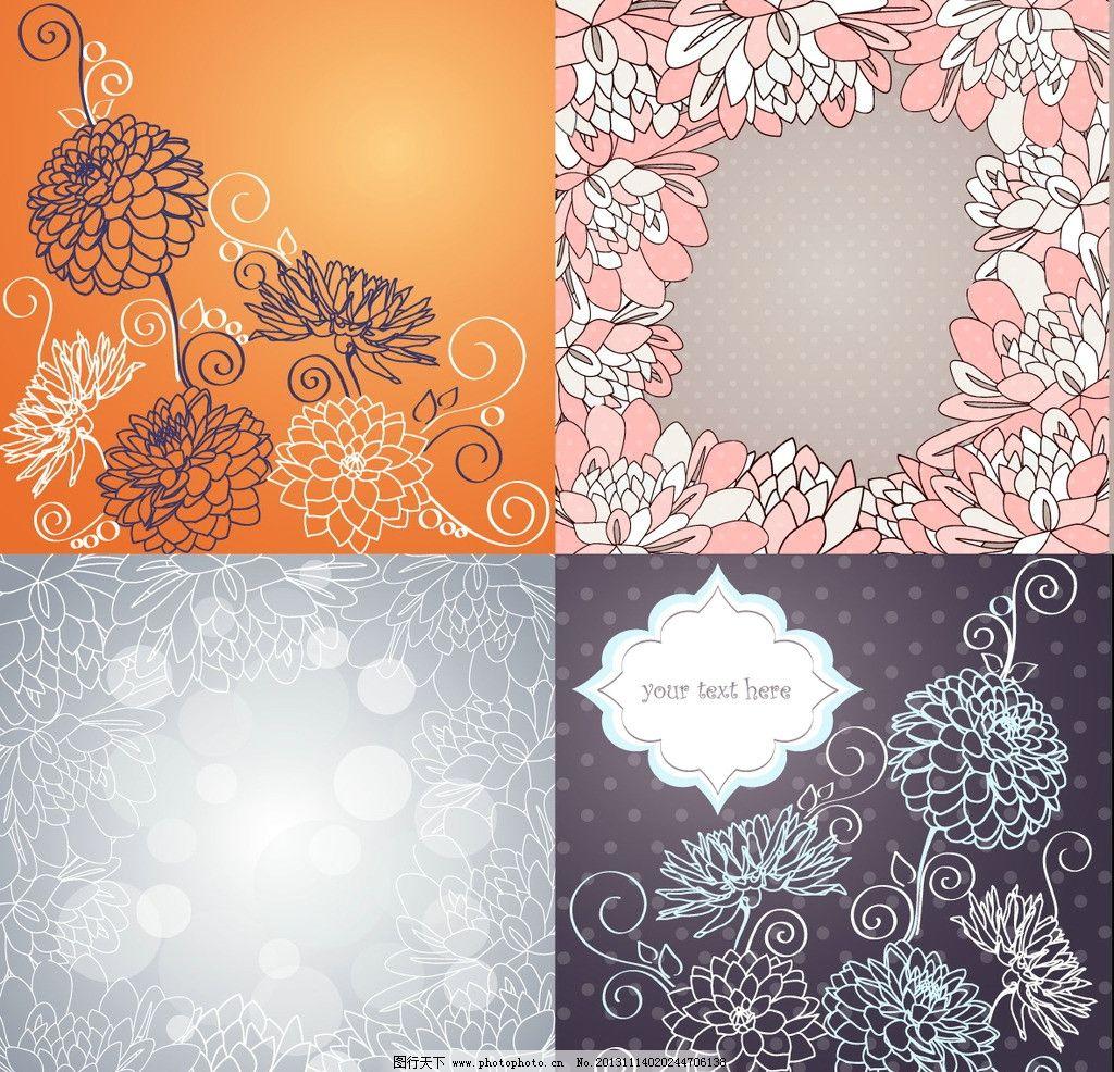 背景底紋  手繪花紋花卉 手繪花紋 墻紙 無框畫 移門圖案 時尚 花紋