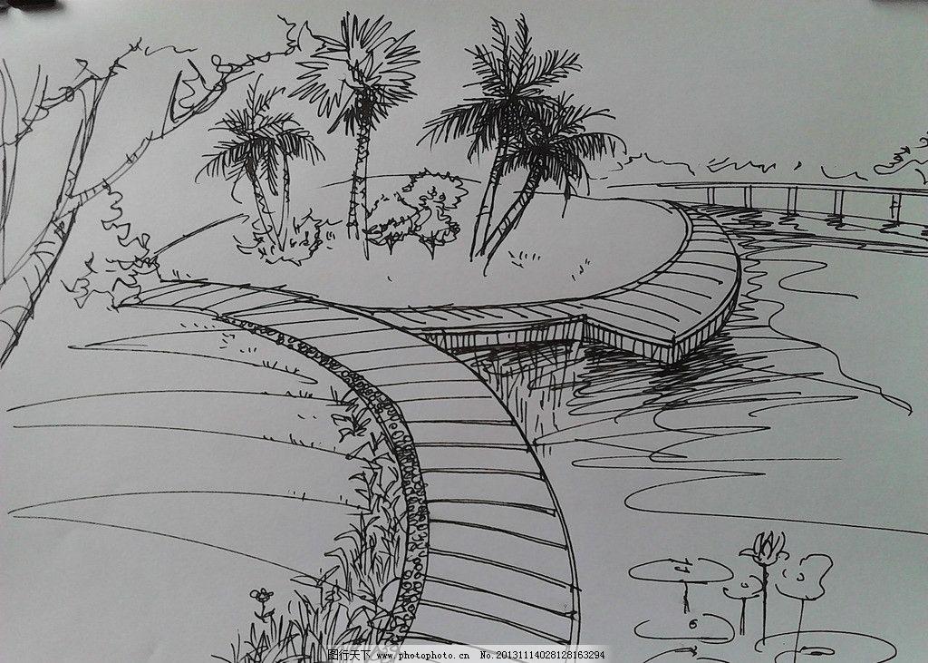手绘景观 手绘 滨水景观 手绘风景 手绘建筑景观 景观设计 环境设计