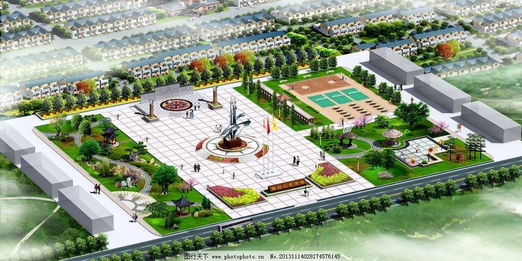 广场鸟瞰图 雕塑 景墙 文化柱 园林 文化廊架 景观设计 环境设计 设计