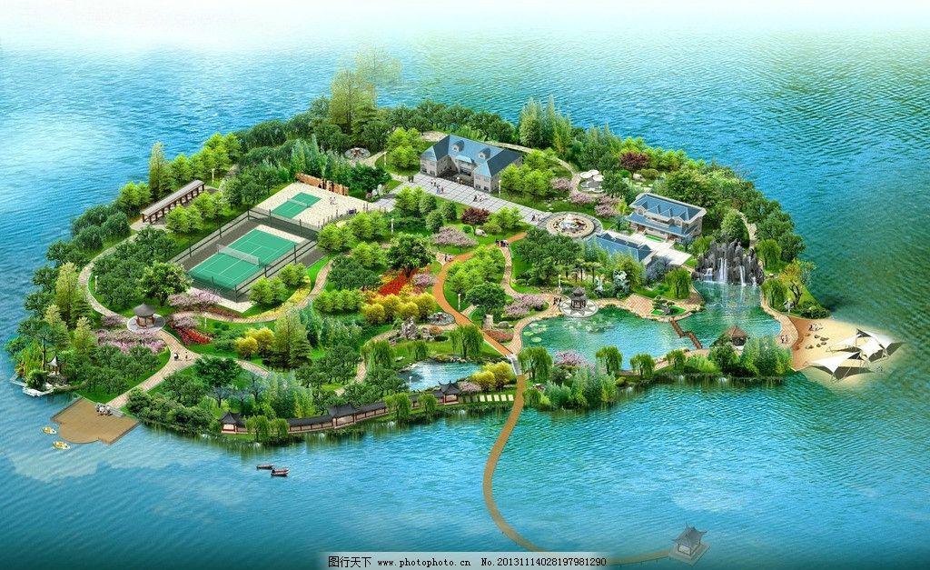 湖心岛 园林 别墅 人工湖 文化亭廊 健身 景观设计 环境设计 设计 72d