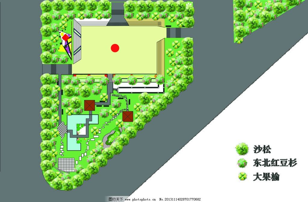 园林平面图树木画法
