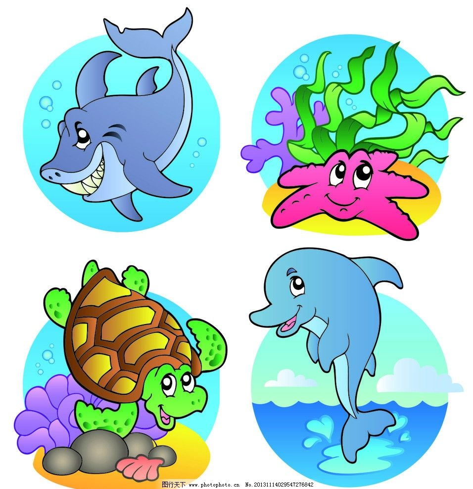 卡通海洋动物 海洋 海龟 鲨鱼 矢量 海星 卡通 动物 海豚 海草 天空