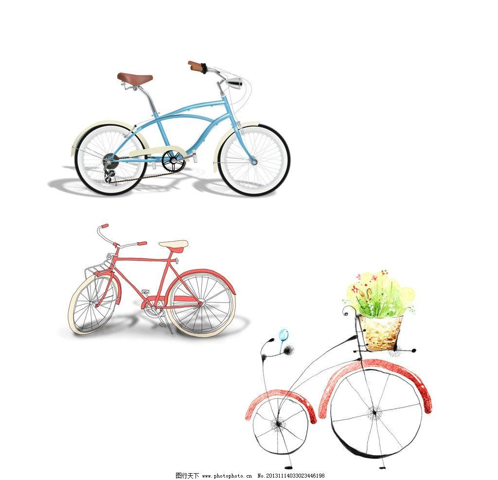 手绘涂鸦插画自行车图片