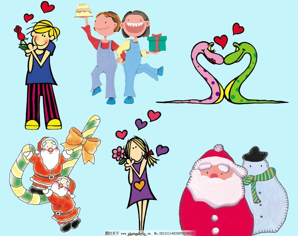 卡通素材 节日素材 中西节日卡通 情侣 蛇情侣 姐妹 女孩 时尚