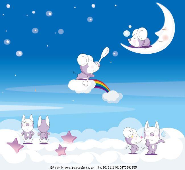 月亮 小动物 萌图