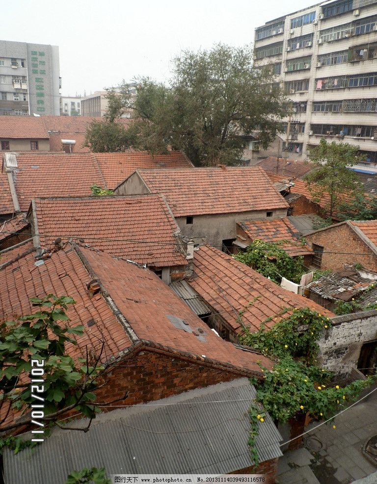 沙市 民居 俯视图 房屋 红瓦 建筑摄影 建筑园林 摄影 96dpi jpg