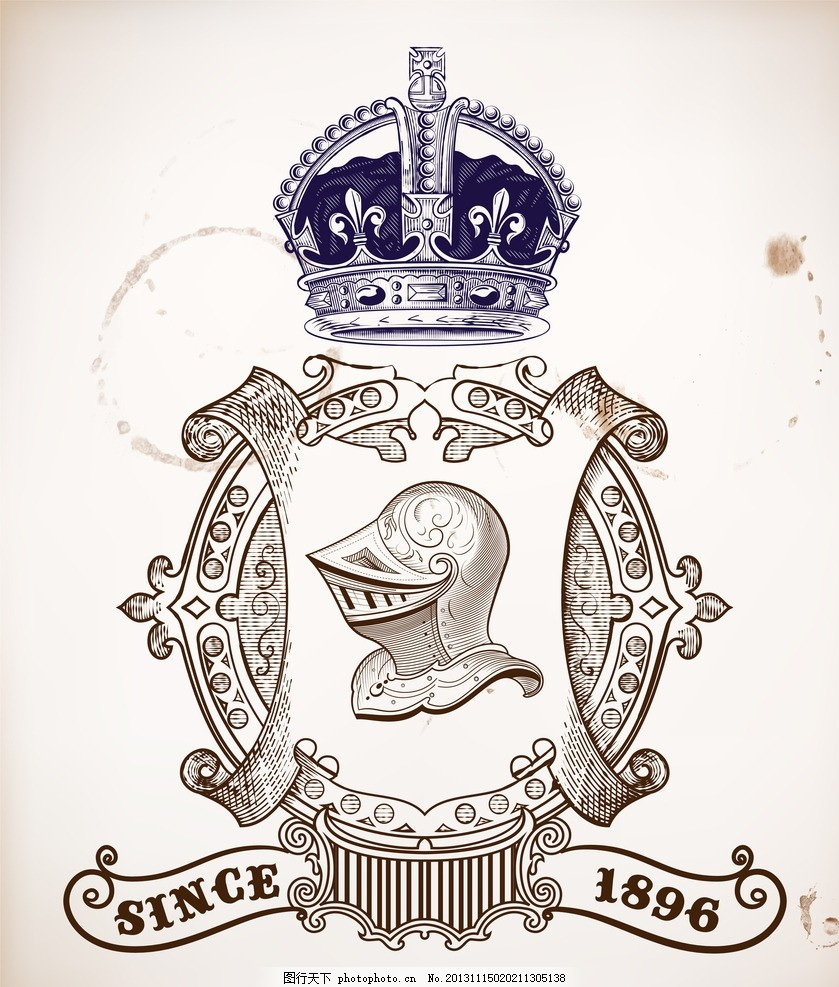 欧式花纹 欧式花纹矢量素材 复古设计元素 武士盔甲 皇冠 王冠