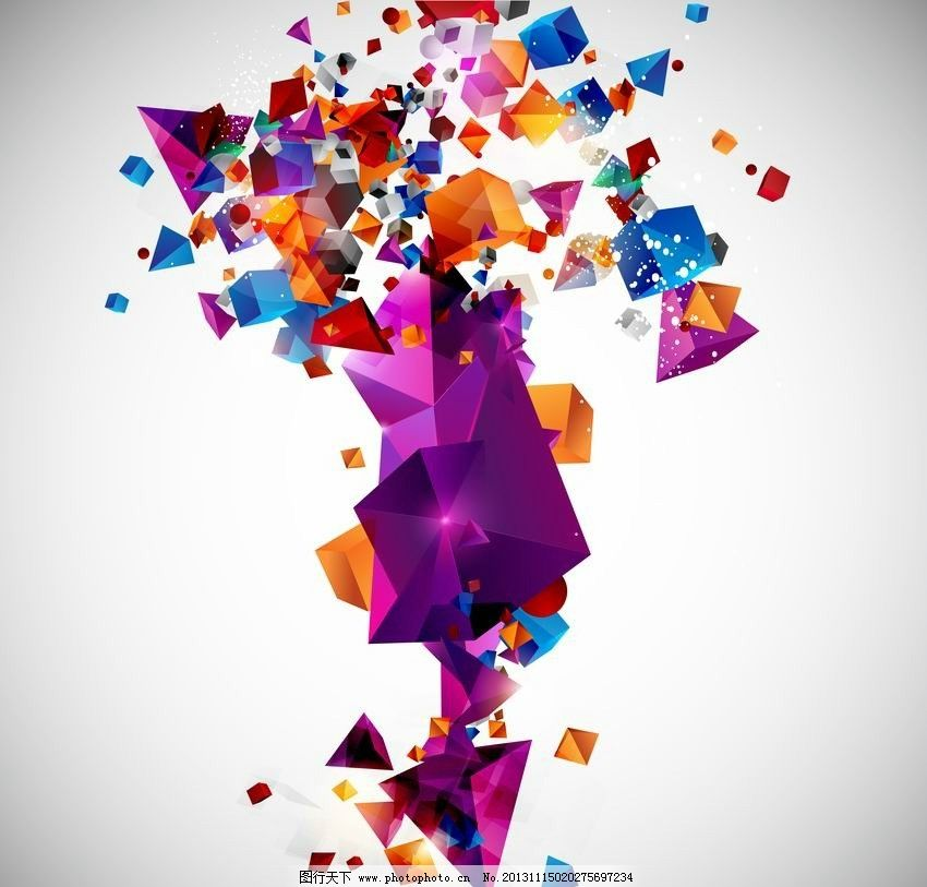 动感几何体创意背景图片