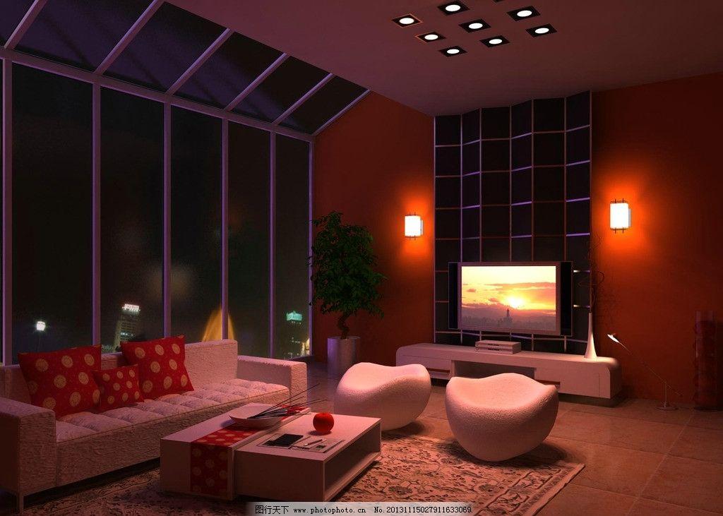 室内效果图 家装      大玻璃幕墙 夜景 3dmax渲染图 沙发 地毯 茶几