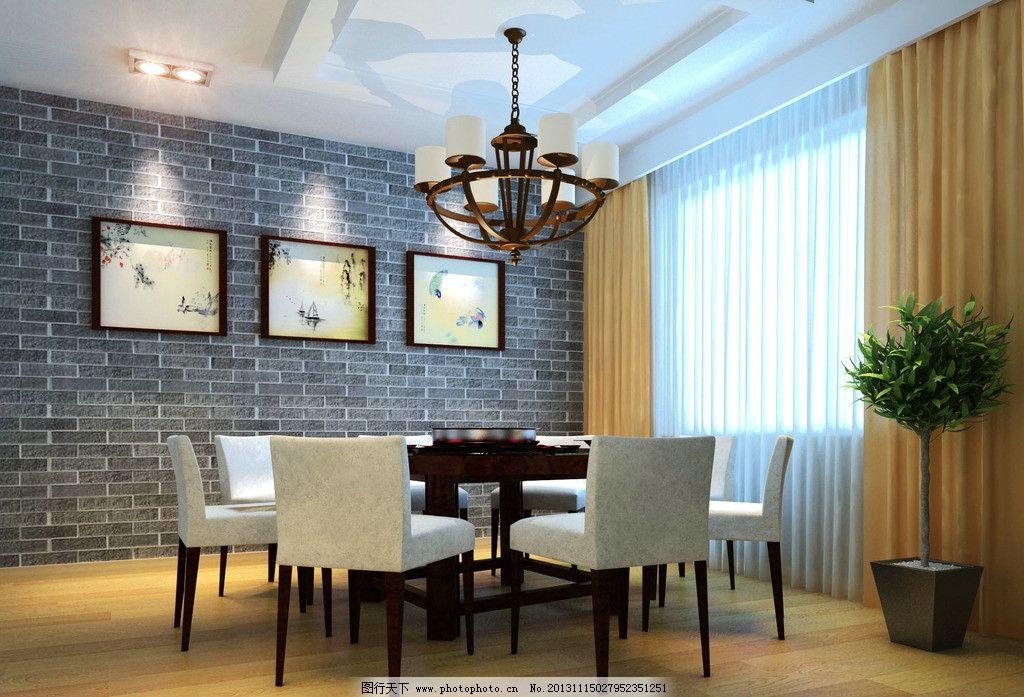 餐厅中式风格小包间 餐厅 小包间 中式 作业图 简约 室内设计 环境