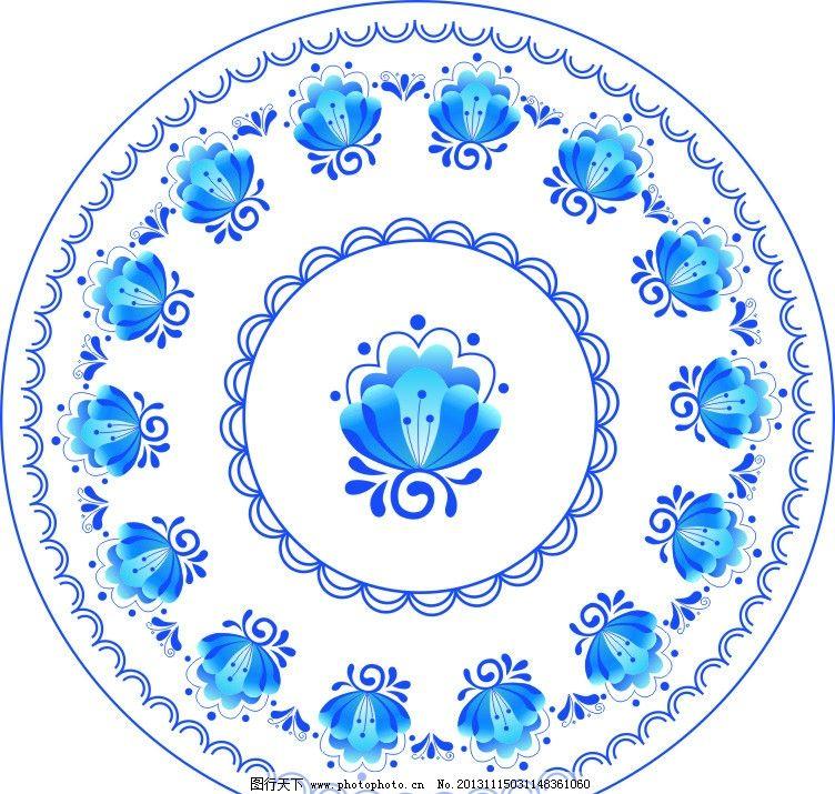 青花瓷盘子模板下载 青花瓷 盘子 底纹 花朵 青花 矢量 花纹 花纹花边