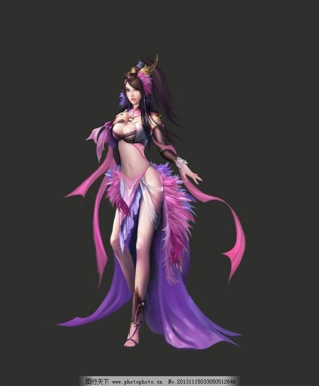 紫衣美女图片