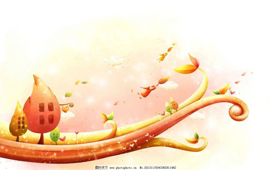 童话绘画 童话 绘画 可爱 儿童画 插画 红色 树枝 大树 风景漫画 动漫
