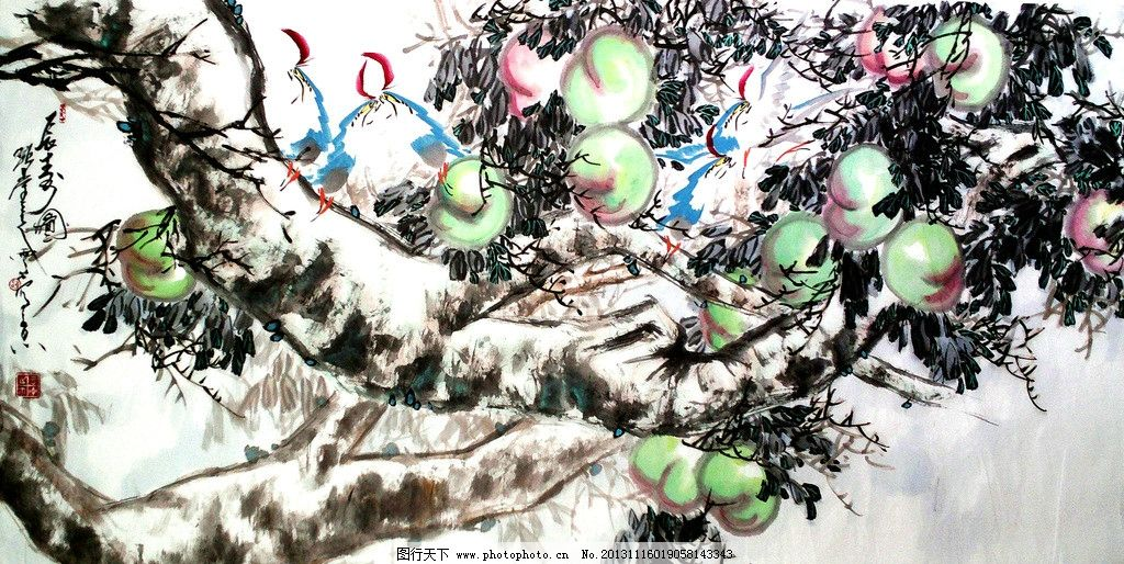 长寿图 美术 中国画 水墨画 果园 桃树 桃子 鸟儿 国画艺术 绘画书法