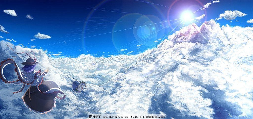云上飞翔 可爱 少女 蓝天 白云 飞翔 风景 壮丽 风景漫画 动漫动画