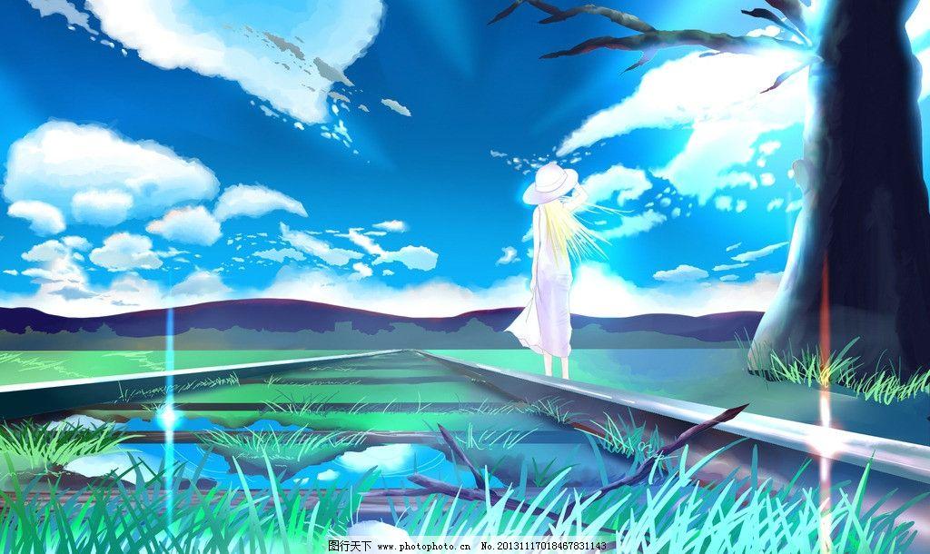 蓝天白云草地春夏风景