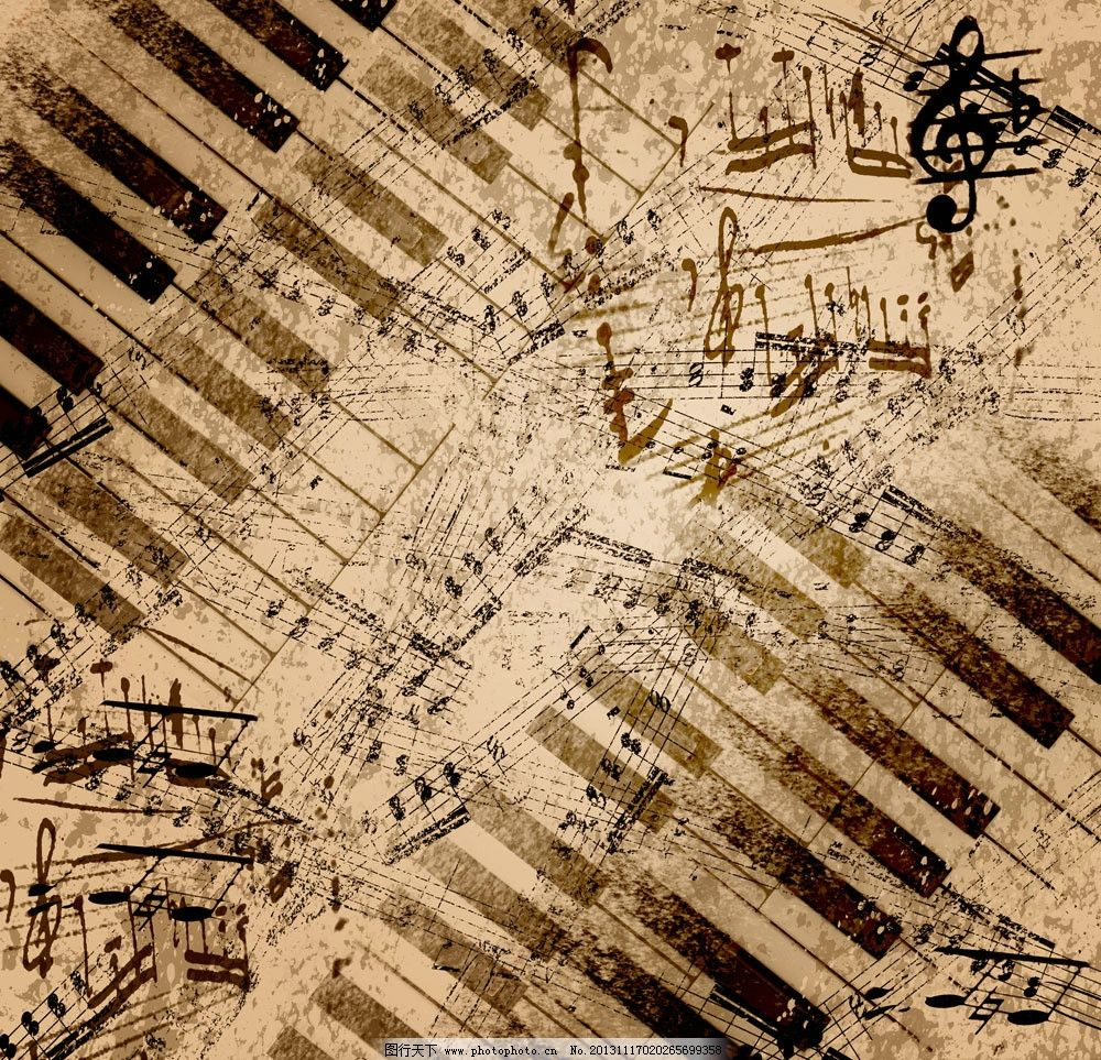 复古音乐背景 音乐 音符 琴键 漫画 复古 背景底纹 底纹边框 设计 72