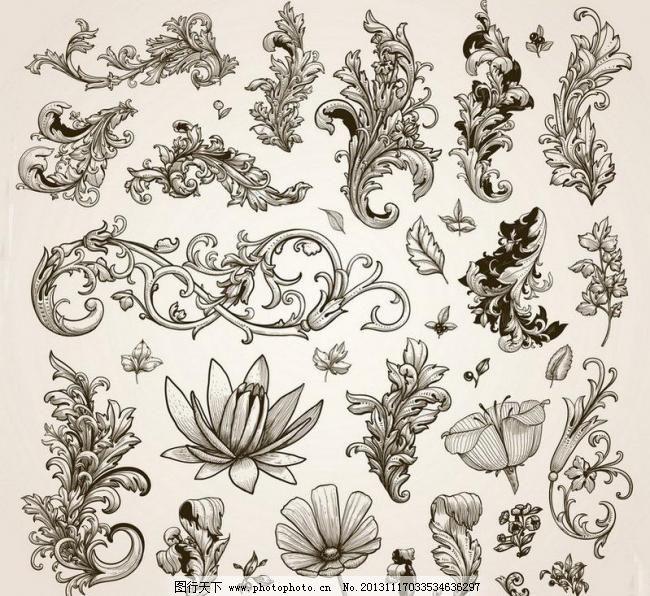 欧式花纹 花卉 壁纸 边角 标签 潮流 传统花纹 底纹边框 典雅