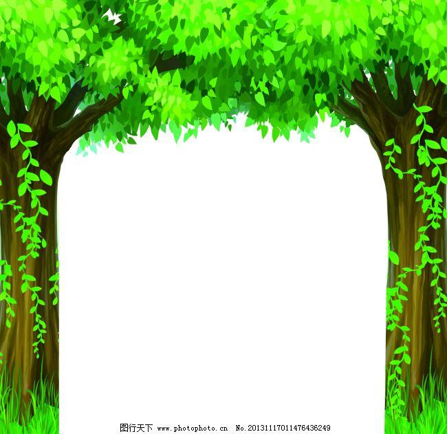 门型绿色树木背景墙素材
