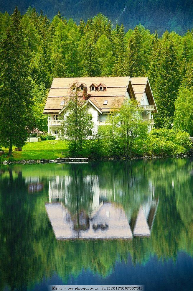 设计图库 自然景观 自然风景  林中别墅 森林 世外桃源 小路 景观