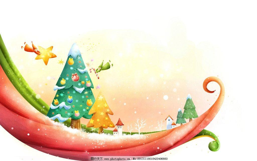 童话绘画 童话 绘画 可爱 儿童画 插画 卡通 漫画 船只 圣诞 风景漫画