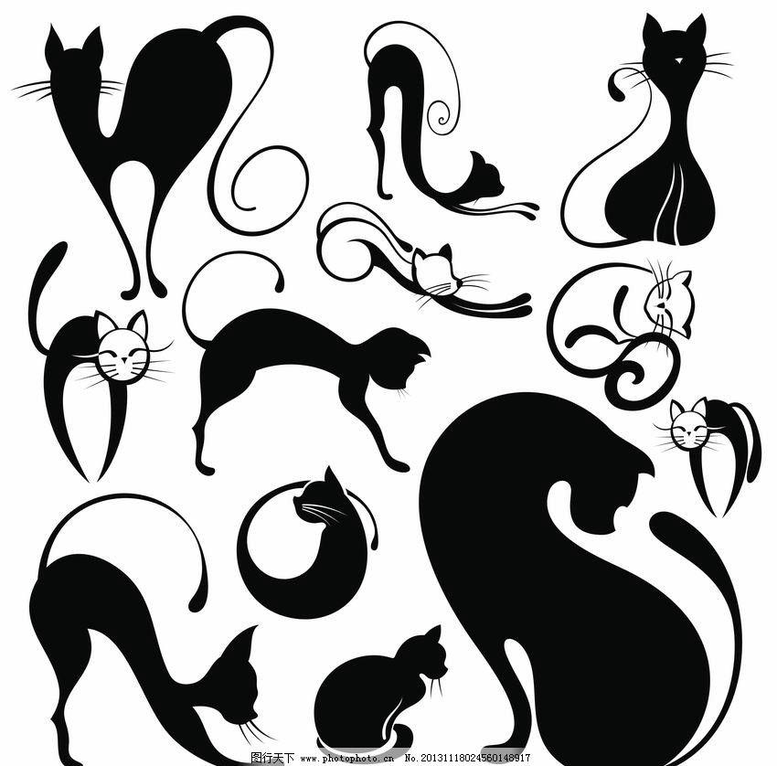 手绘线条猫图片