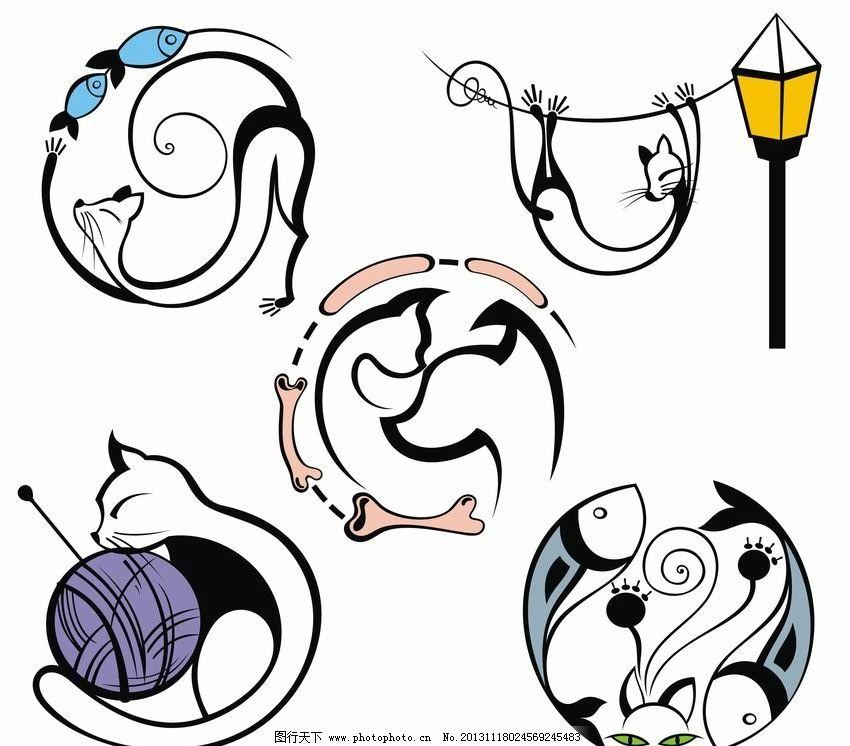 线条猫 猫 猫咪 表情 标签 线条 鱼 可爱 滑稽 有趣 手绘 矢量 动物