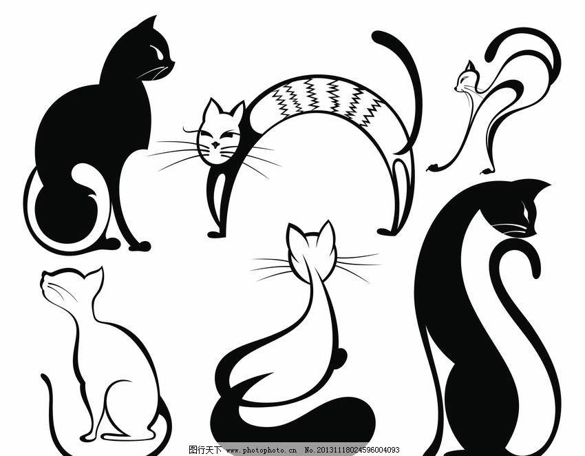 黑白线条装饰画动物