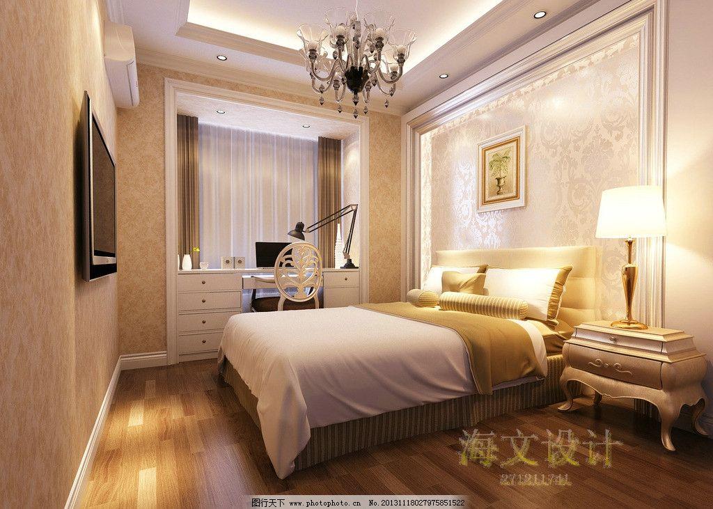 欧式卧室效果图 简欧 家装 风格 装修 床铺 室内设计 环境设计 设计 7