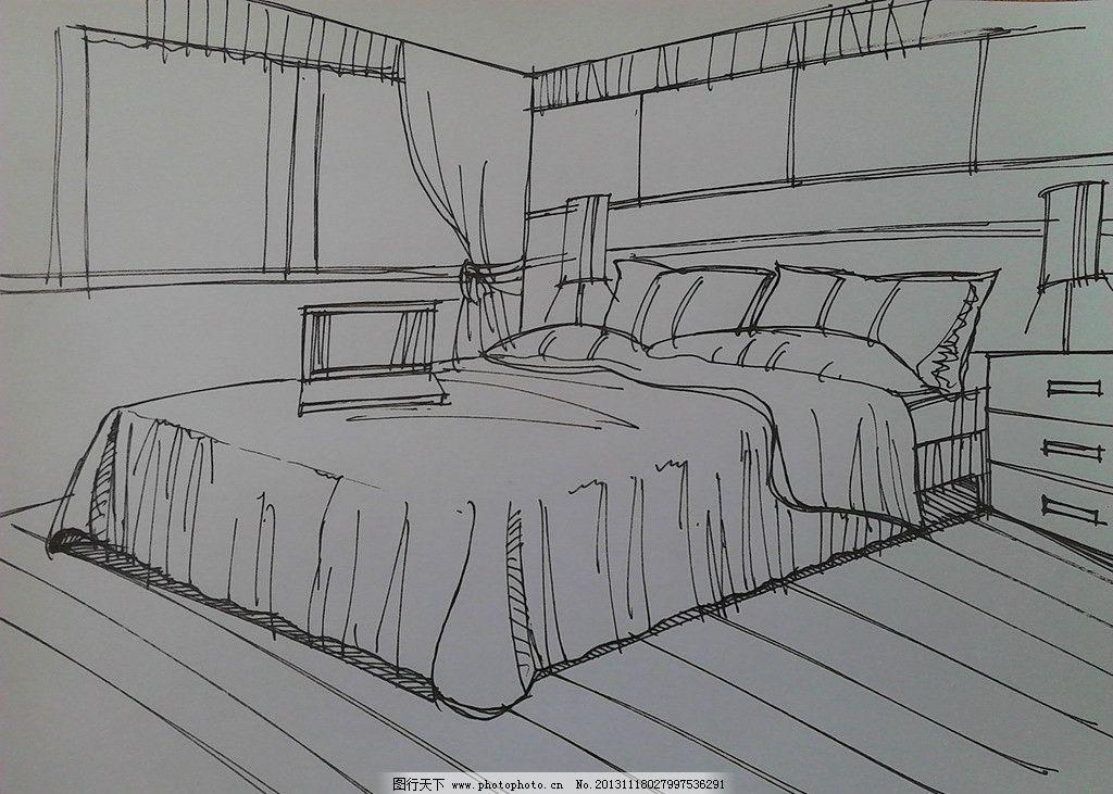 手绘卧室效果图 手绘室内效果图 卧室效果图 手绘家具 手绘 室内设计