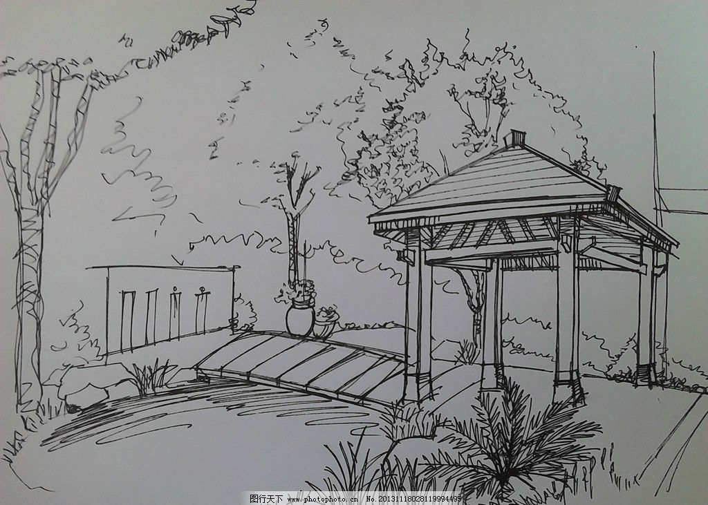 手绘景观效果图 景观效果图 滨水景观效果图 手绘建筑具 手绘 景观