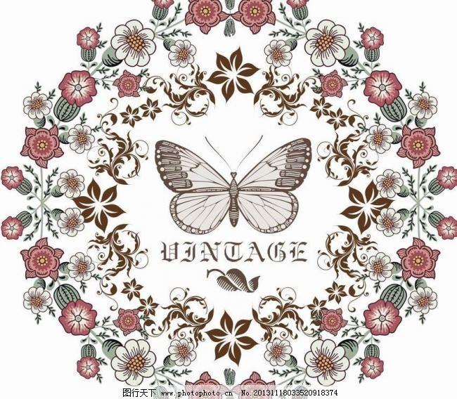 鲜花蝴蝶矢量素材 鲜花蝴蝶模板下载