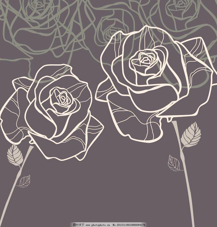 手绘 玫瑰 线条图片