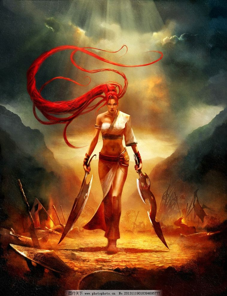 美女战士 手绘 美女 战士 武士 长发 刀 战场 游戏壁纸 动漫人物 动漫